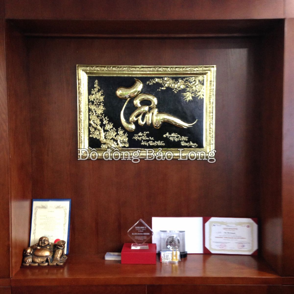 Lắp đặt hoàn thiện tranh chữ Tâm khung đồng cho chị Trang ở Nguyễn Xiển