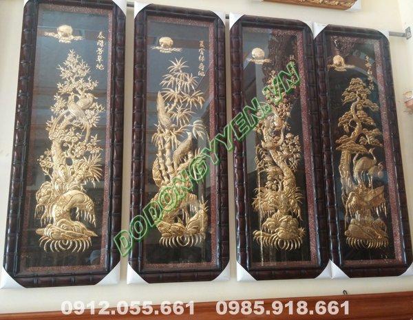 tranh tứ quý bằng đồng vàng