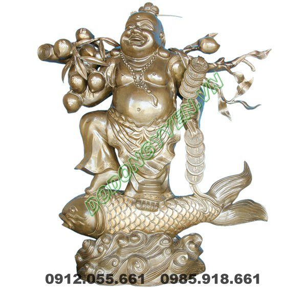 tượng phật di lạc cưỡi cá chép bằng đồng