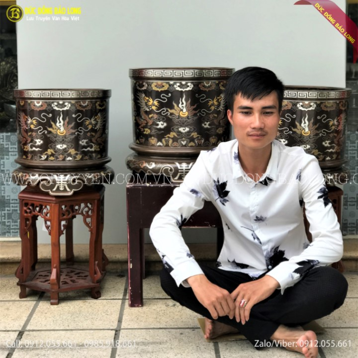 Bát Hương Đồng Khảm Ngũ Sắc 38cm và 42cm