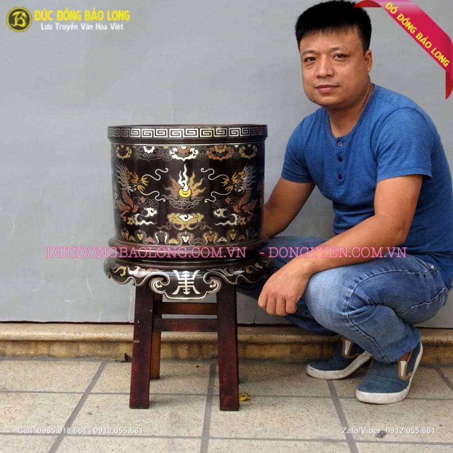 Bát Hương Khảm Ngũ Sắc 41cm Cho Thầy Chùa đặt Tam Bảo