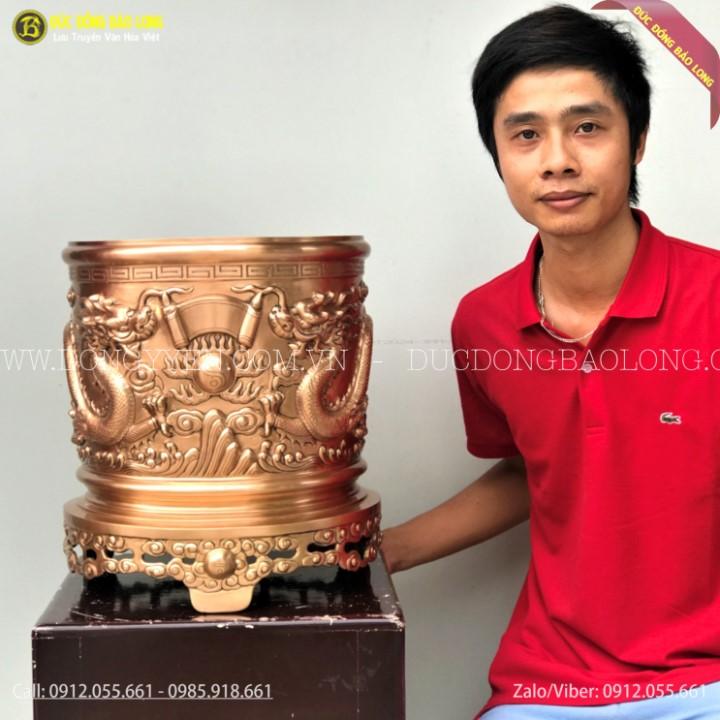 Bát Hương Rồng Chầu Mặt Nguyệt Bằng Đồng Đỏ 41cm