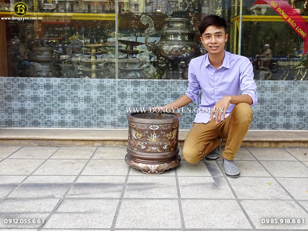 bát hương đồng khảm ngũ sắc 37cm cho khách hà tĩnh