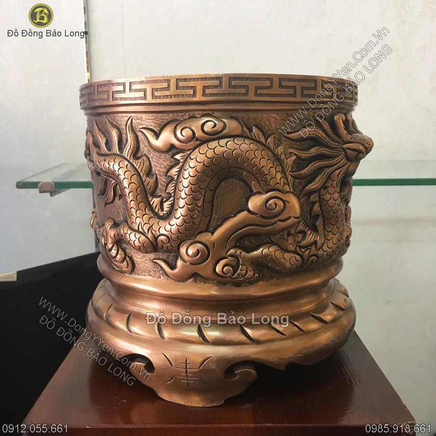 Bát Hương Đồng Đỏ Đúc Rồng Nổi 23cm