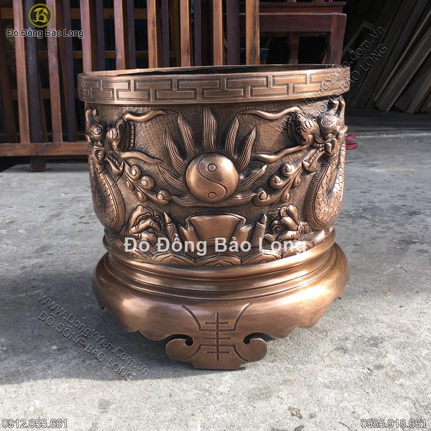 Bát Hương Đồng Đỏ Hun Xanh 35cm