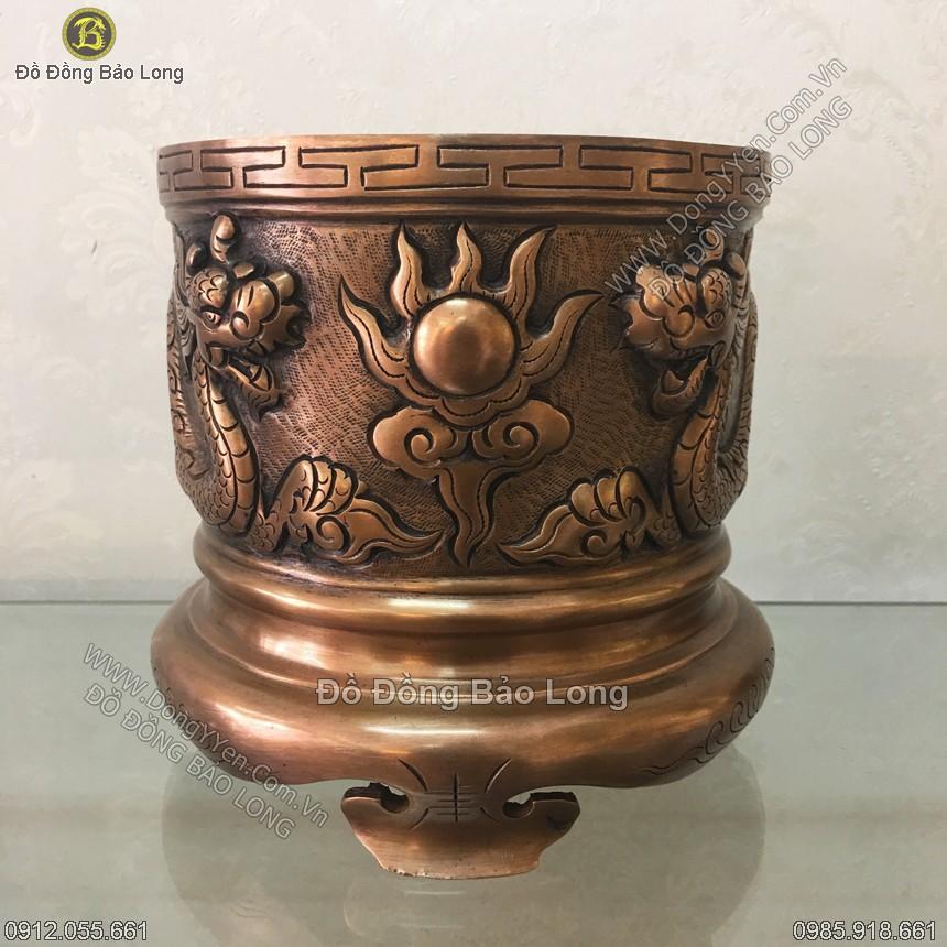 Bát Hương Đồng Đỏ Rồng Nổi Hun Xanh 17cm