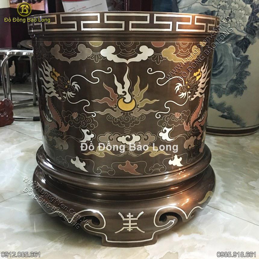Bát Hương Đồng Khảm Ngũ Sắc 30cm