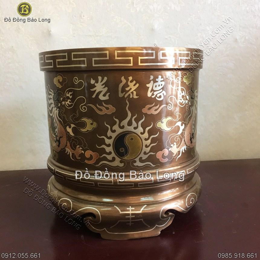 Bát Hương Đồng Tam Khí Khảm Đức Lưu Quang DK 20cm