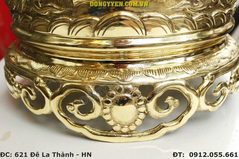 Chân đế bát hương đồng vàng 35cm