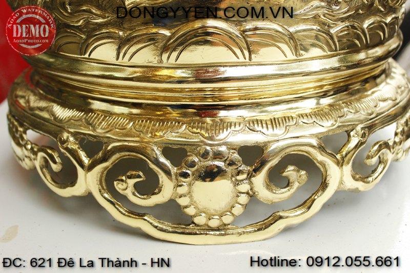 Chân đế bát hương đồng vàng 40cm