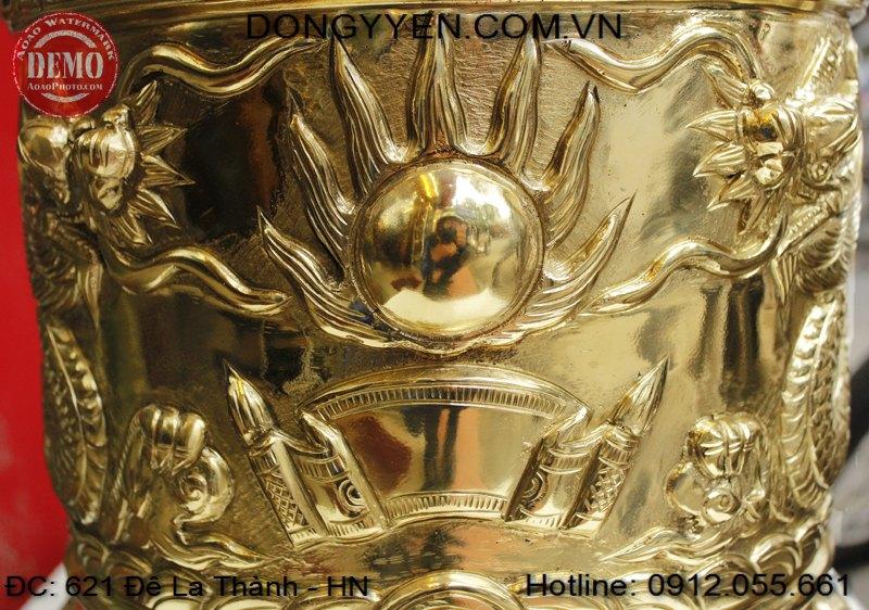 Mặt nguyệt trên bát hương đồng vàng 40cm