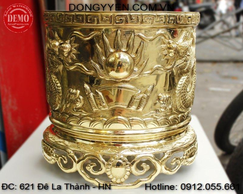 Bát hương đồng vàng đường kính 40cm
