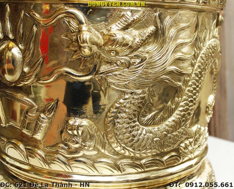 Rồng trên bát hương đồng vàng 35cm