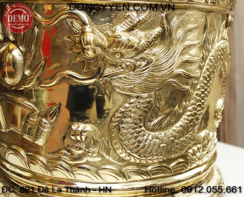 Rồng trên bát hương đồng vàng 40cm