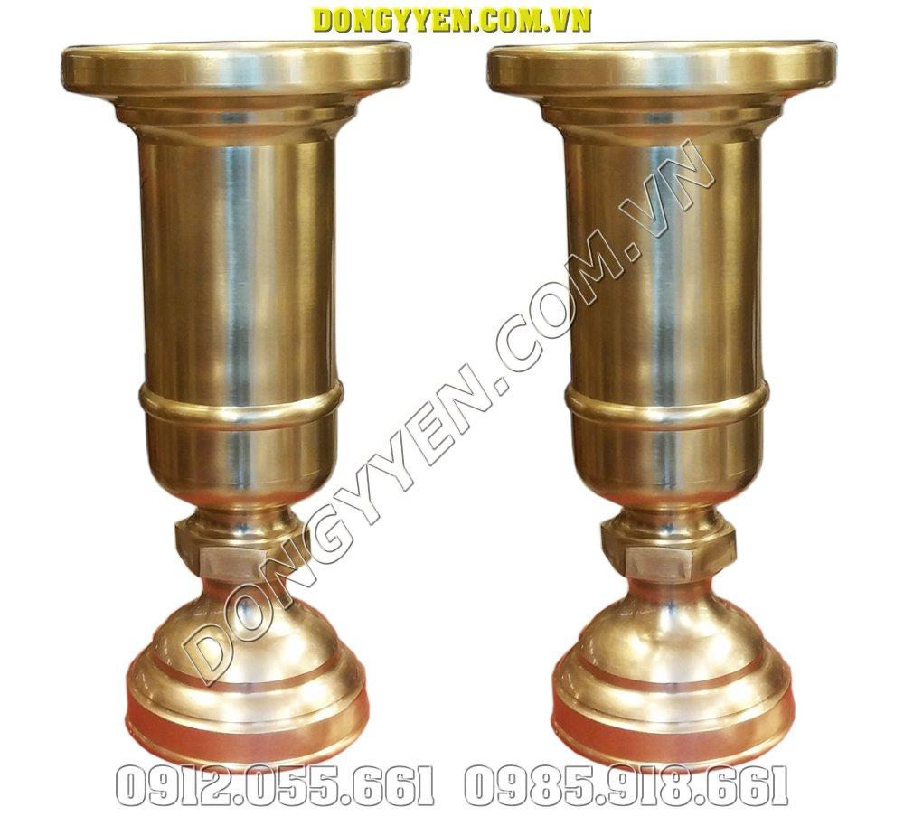 Đôi ống đựng hương bằng đồng vàng 30cm