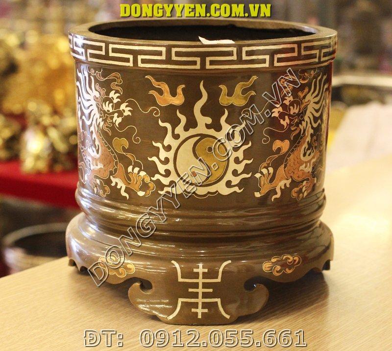 Bát Hương Đồng Khảm Tam Khí - Bát Hương Tam Khí 19cm