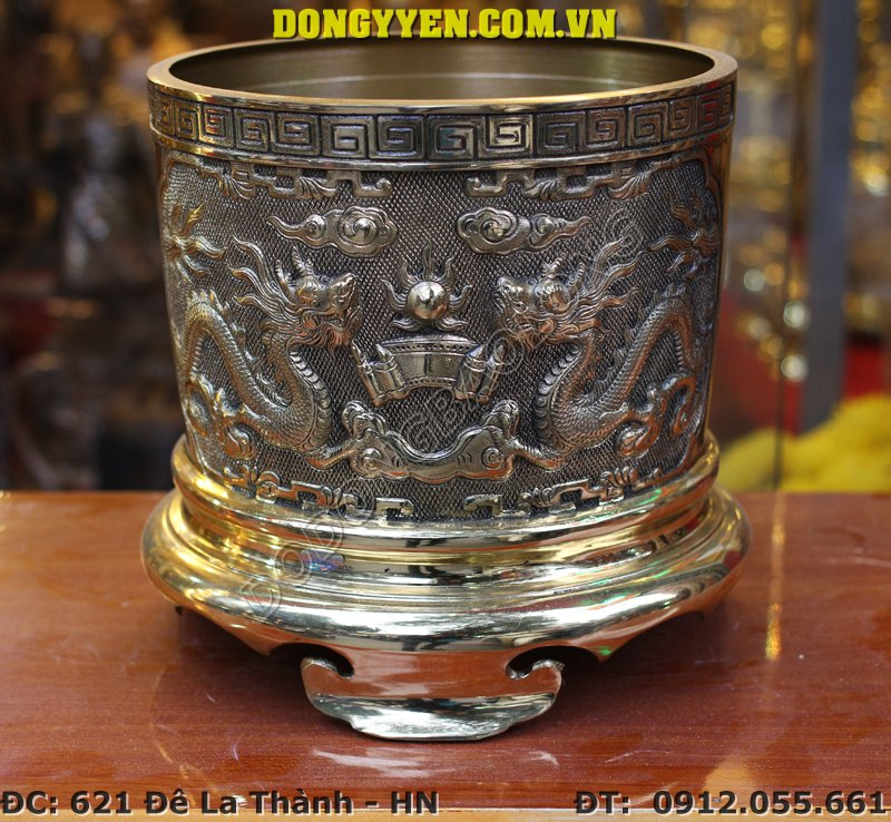 Bát Hương Đồng Vàng Đường Kính 25cm