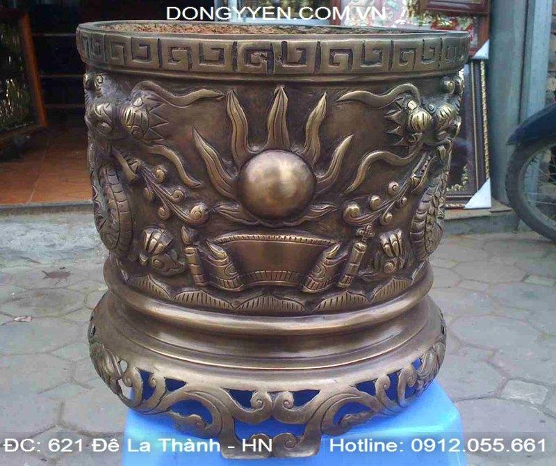 Bát Hương Đúc Bằng Đồng Hun Giả Cổ 35cm
