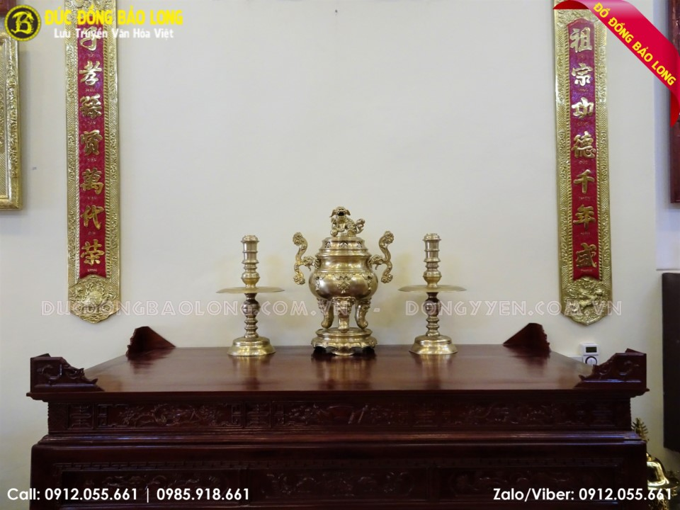 bộ tam sự đỉnh nến bằng đồng vàng 70cm