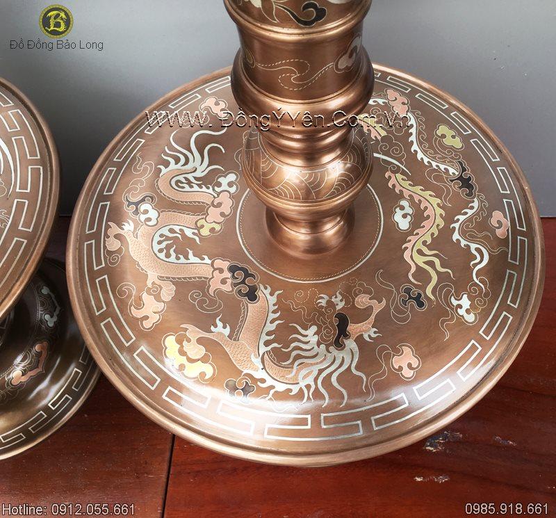 Chân Nến Đồng Khảm Tam Khí 60cm