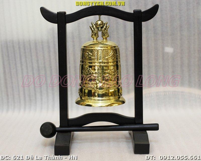 Chuông Đồng Bé Treo Giá Gỗ 17cm