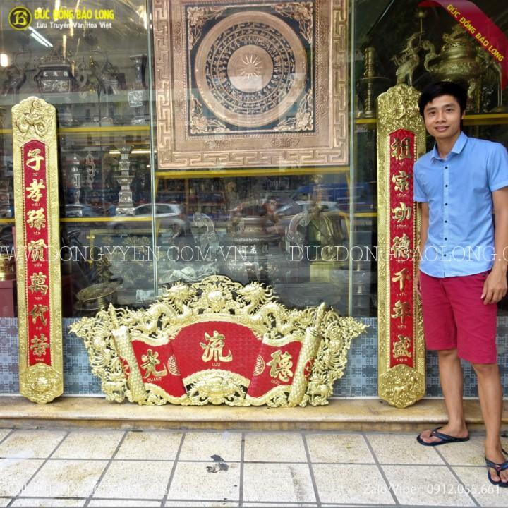 Cuốn Thư Câu Đối Bằng Đồng 1m76 Cho Khách Hưng Yên