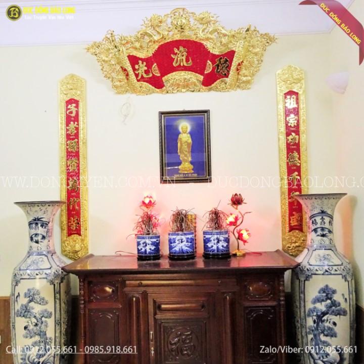 Bộ Cuốn Thư Câu Đối Mạ Vàng 24k 1m76 cho khách hàng ở Nguyễn Xiển Hà Nội