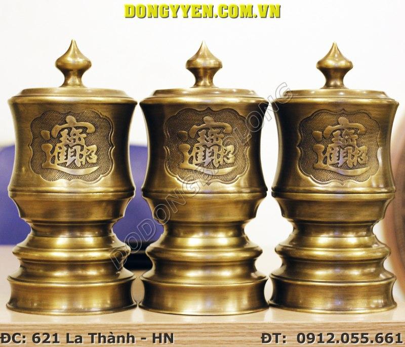 Đài Thờ Giả Cổ - Đài Thờ Bằng Đồng Hun ĐK 12cm
