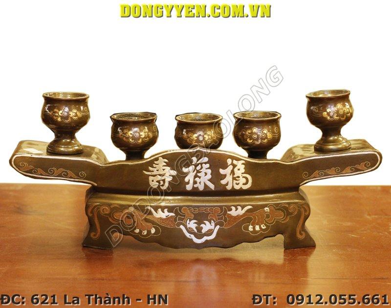 Bộ Khay Đồng 5 Chén Khảm Tam Khí
