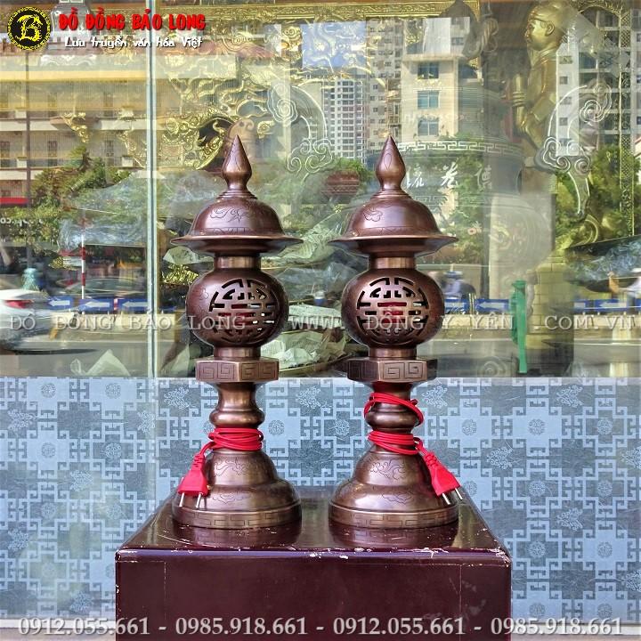 Đèn Thờ Bằng Đồng Đỏ Ám Hoa Văn 42cm
