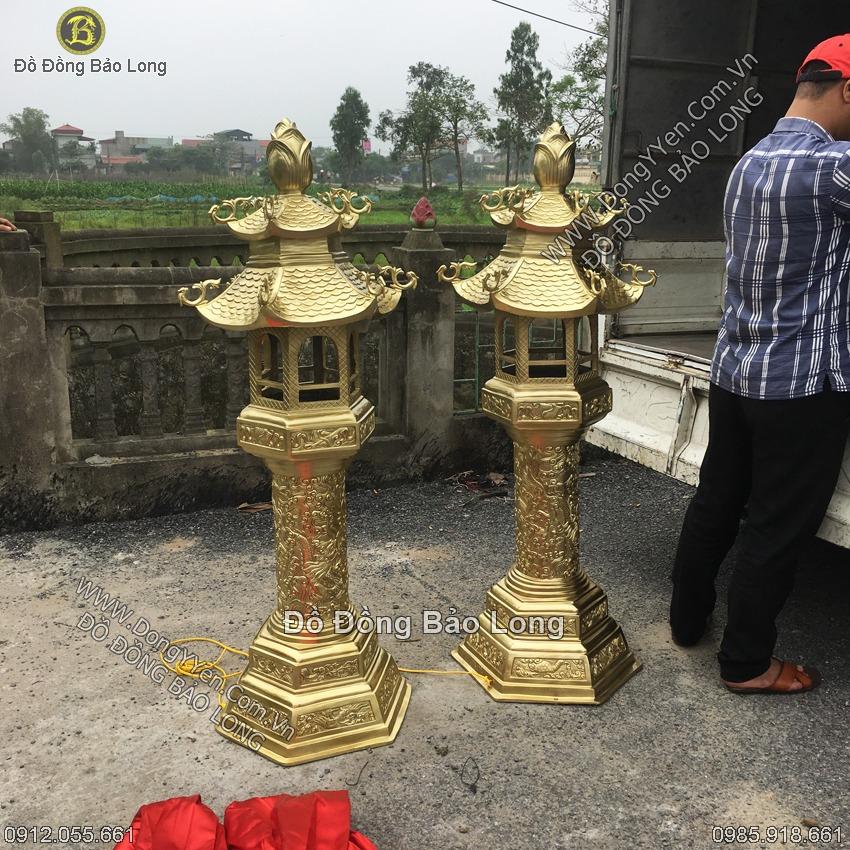 Đôi Đèn Đồng Katut Cho Đình, Chùa 1m55