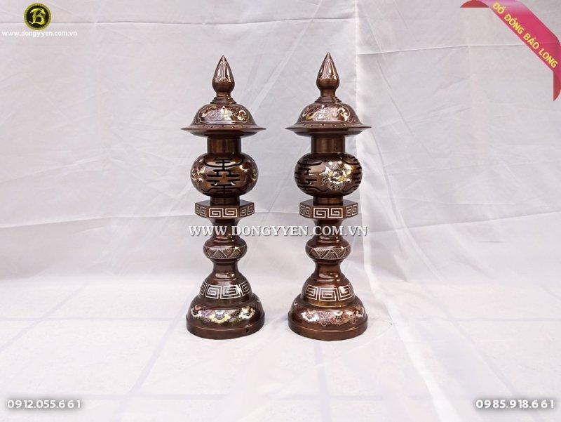 đôi đèn thờ khảm tam khí cao cấp cao 61cm