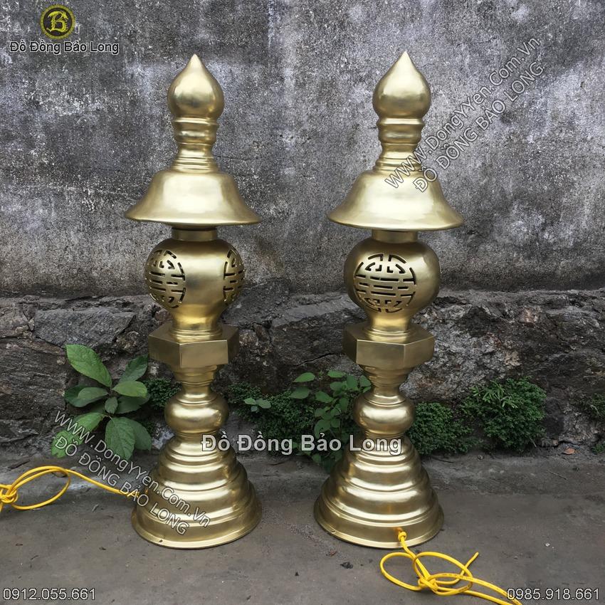 đôi đèn thờ tam bảo cao 90cm