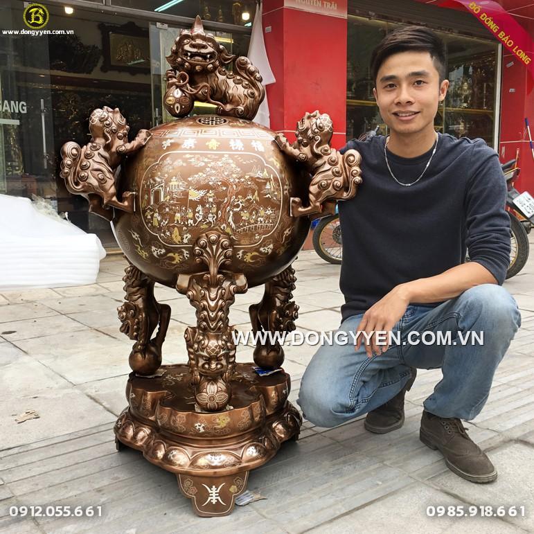 Đỉnh Đồng Thất Lân Khảm Đóng Huỳnh 1m1