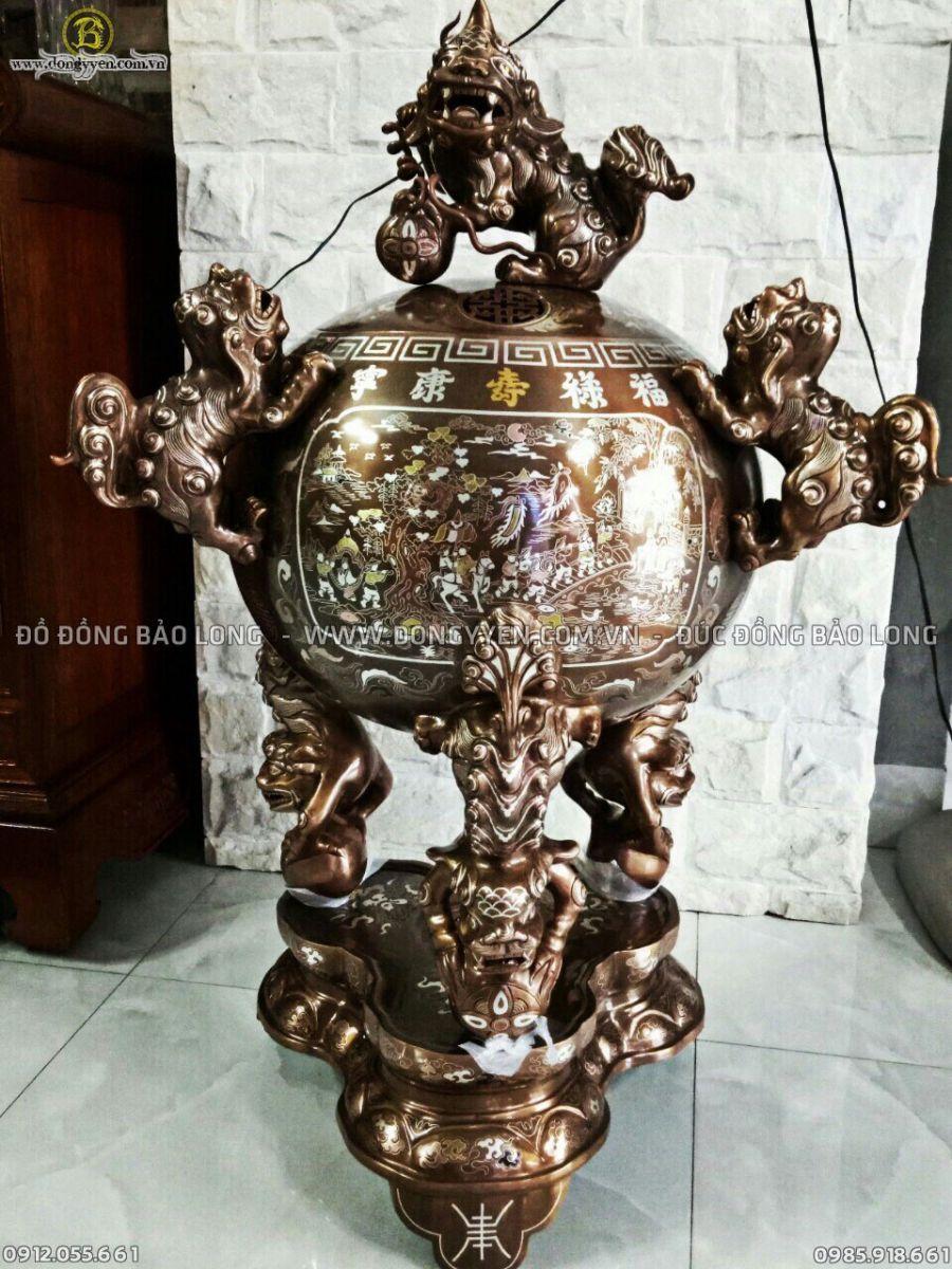 Đỉnh Thất Lân Khảm Đóng Huỳnh 90cm cho khách Đà Lạt