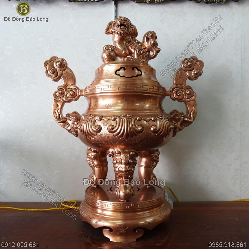 Đỉnh Đồng 70cm Bằng Đồng Đỏ Ám Dơi Tiền