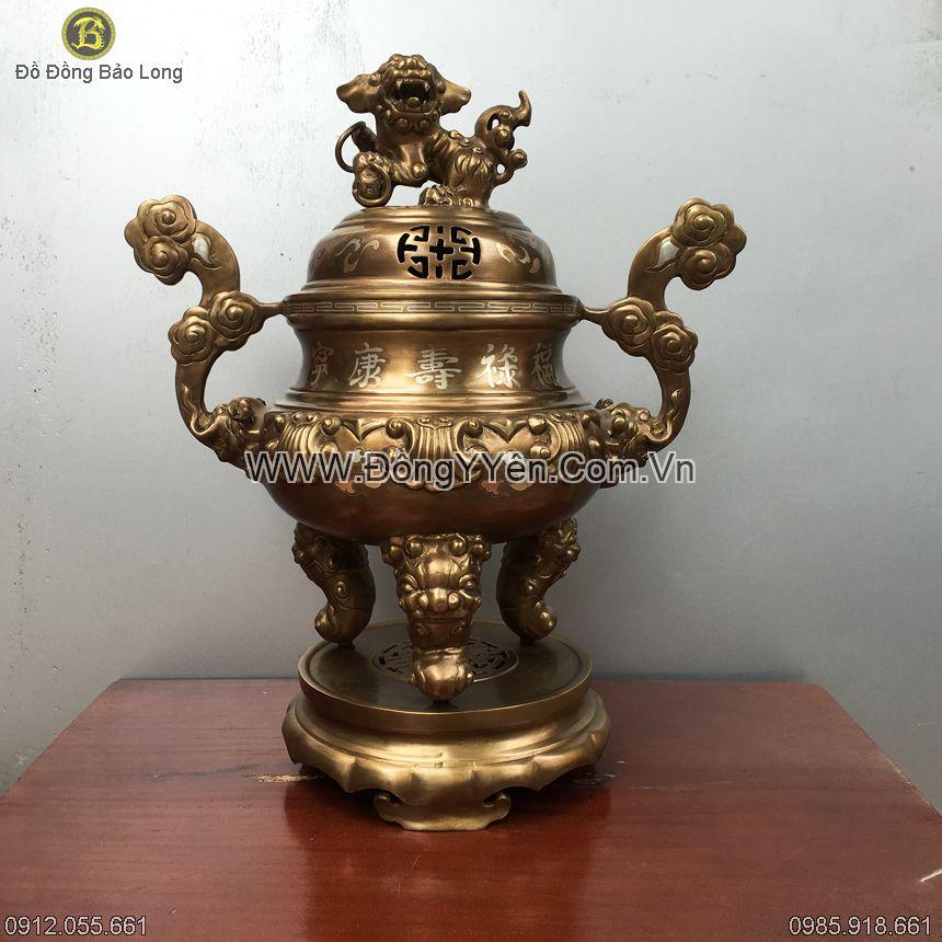 Đỉnh Đồng Hoa Sòi Khảm Bạc 60cm