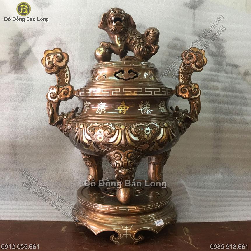 Đỉnh Đồng Hoa Sòi Khảm Dơi Tiền 55cm
