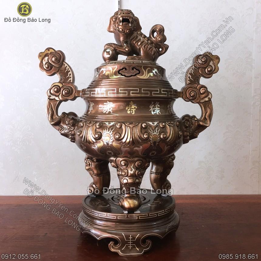 Đỉnh Đồng Hoa Sòi Khảm Tam Khí 60cm