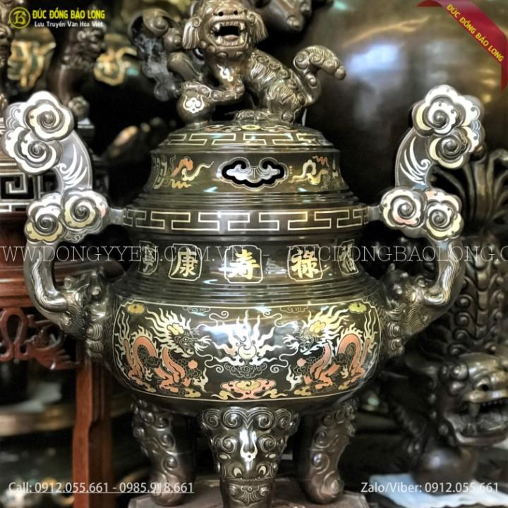 Đỉnh Đồng Tam Khí Khảm Rổng Phượng 60cm