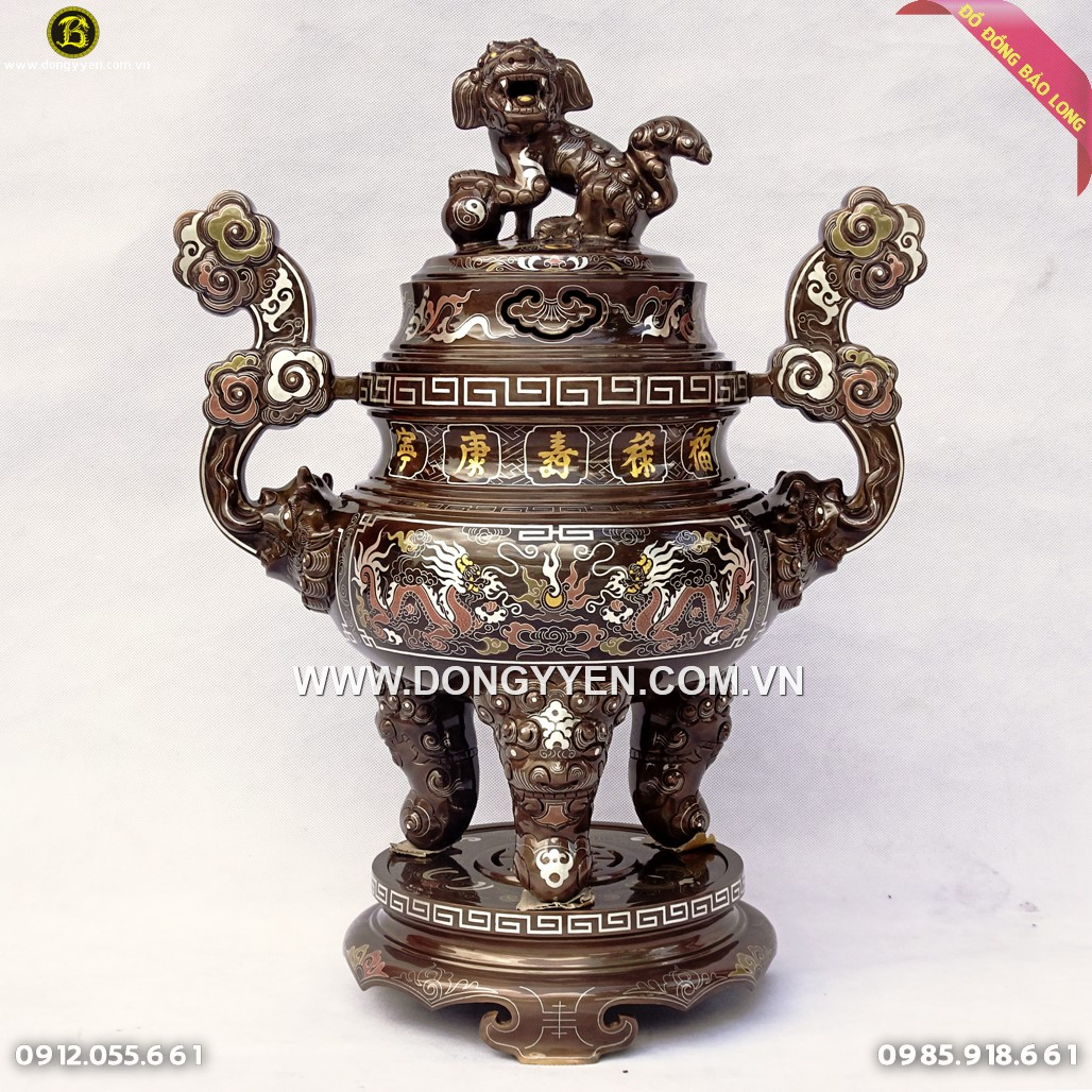 Đỉnh Đồng Ngũ Sắc Cổ Gấm Khảm 5 Chữ Vàng 60cm