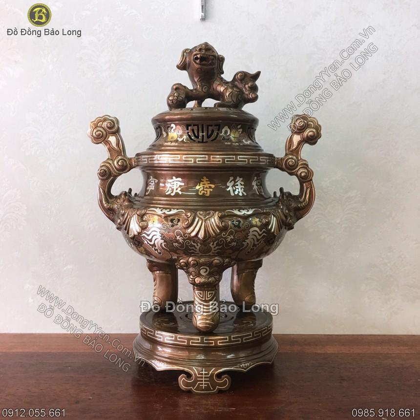Đỉnh Đồng Tam Khí Khảm Kỹ 50cm
