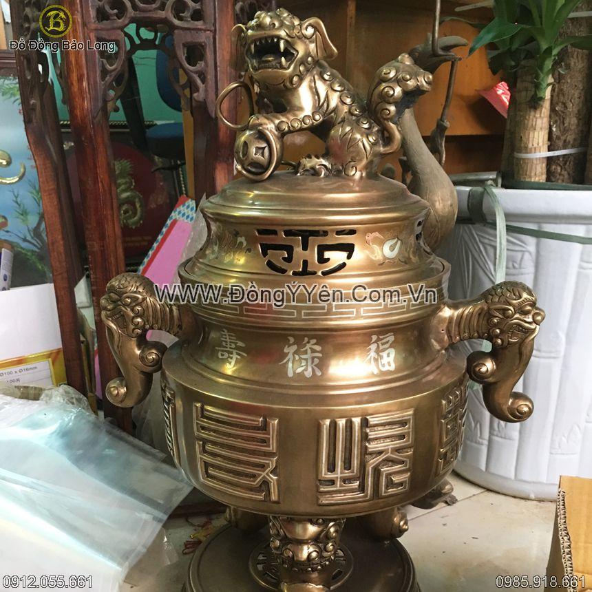 Đỉnh Đồng Vàng Tai Cui Khảm Bạc 65cm