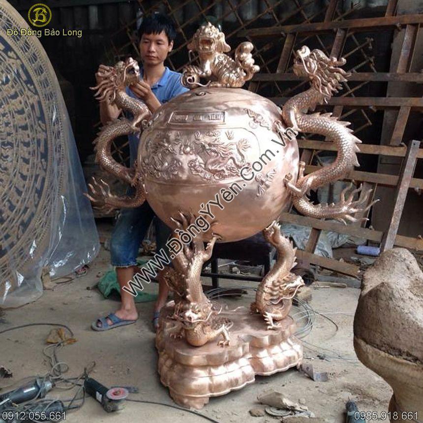 Đúc Đỉnh Đồng Hóa Long Tai Rồng 1m65