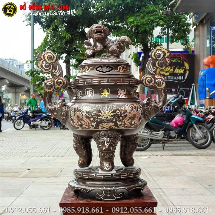 Đỉnh Đồng Khảm Tam Khí Cao 60cm Khảm Chữ Vàng 9999