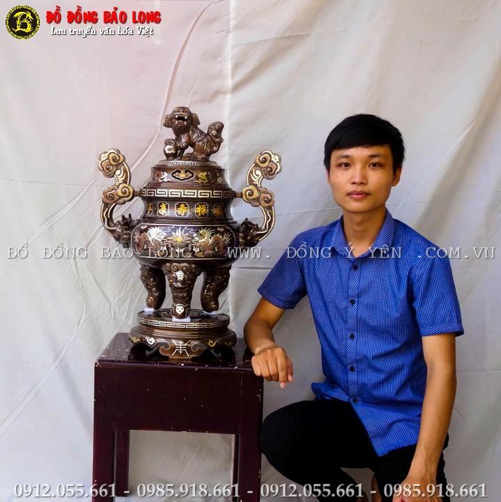 Đỉnh Đồng Khảm Ngũ Sắc 60cm Khảm 5 Chữ Vàng 9999