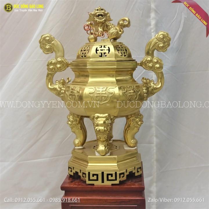 Đỉnh Đồng Bát Giác Bằng Đồng Catut 70cm