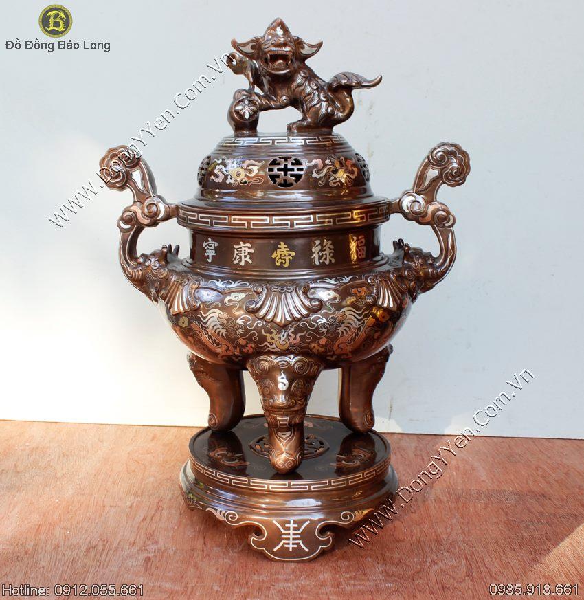 Đỉnh Đồng Tam Khí Cao Cấp Khảm 1 Chữ Vàng 9999