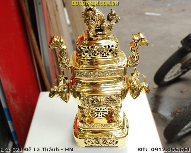 Đỉnh Đồng Vuông Trái Đào Số 2 Cao 58cm