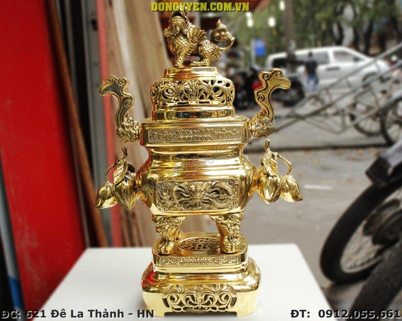 Đỉnh Đồng Vuông Trái Đào Số 3 Cao 47cm